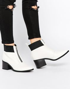 Image 1 of New Look Bounty White Zip Front Ankle Boots