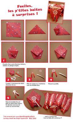 Un tuto pour faire des boîtes à douceurs ultra facile. À voir avec plein d'autres idées sur le blog : www.mes10doigtsmontdit.fr