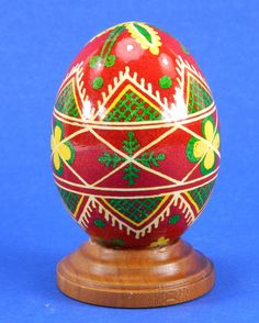 Polish Pysanky Egg Hand Painted Decorated Vintage Easter Blown Out Chicken Egg 20478 by JacksonsMarket on Etsy