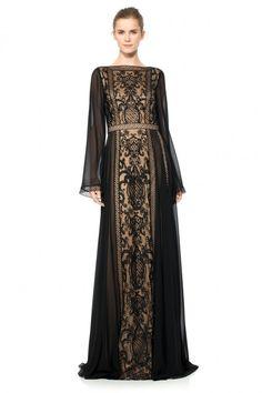 Long Sleeve Chandelier Lace and Chiffon Gown | Tadashi Shoji