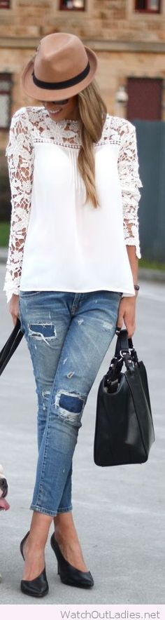 White lace top, denim jeans and a brown hat