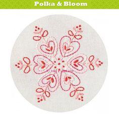 Embroidery Pattern Pink Snowflake Christmas by polkaandbloom, $4.50