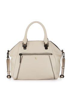 Elliott Lucca Faro Leather Satchel Bag, Stone/Black, Women's, Grey/Blck