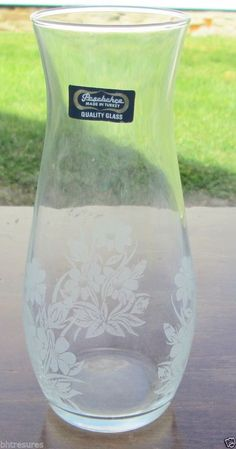 """Gorgeous Pasabahce Turkish 7"""" Etched Glass Vase With Daisy Pattern htttp://stores.ebay.com/bhtresures-internet-store"""