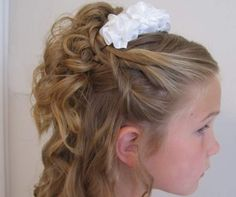 flower girl hairstyles | Children long curled down hairstyle with flower | My Hairstyles Site