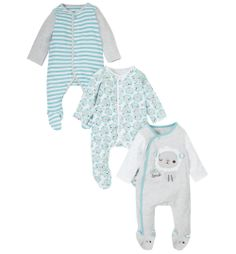 Mothercare Little Lamb Sleepsuits - 3 Pack
