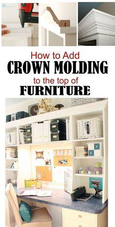 Cómo agregar molduras de corona en la parte superior de los muebles