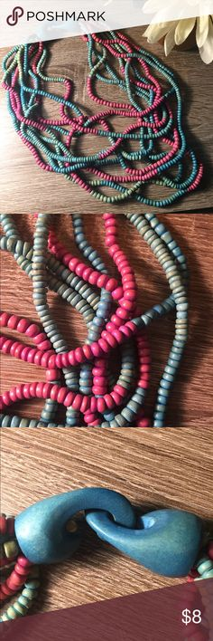 Colorful Multi Beaded Wood Necklace This number has me wishing for warm Spring weather. Hope you love it as much as I do! 🌸  Good condition, lightly used 😊  Wooden and lightweight! Jewelry Necklaces