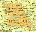 Map of Missouri became the 24th state on August 10, 1821.  The capital is Jefferson City.