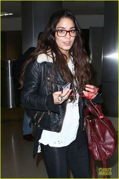 a56fb55f0d158 Vanessa Hudgens Sports Eyeglasses at LAX Airport  Photo Vanessa Hudgens  rocks a pair of cute glasses while arriving at LAX Airport on Friday  (November in ...