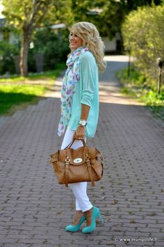 Beautiful Tiffany blue for fall... love the layering with the cardigan, scarf and bag!