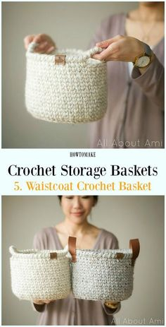 Storage Basket Free Crochet Patterns Waistcoat Crochet Basket Free Pattern – Storage Free Patterns – make your own basket – crochet ideas – storage ideas Related posts:How I pin for a living. Gilet Crochet, Knit Or Crochet, Crochet Gifts, Free Crochet, Crochet Waistcoat, Crochet Pillow, Crochet Afghans, Crochet Braids, Crochet Stitches