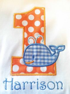 Whale Birthday Number Shirt or Onesie by OhSewSweetEmbroidery First Birthday Photos, Baby First Birthday, First Birthday Parties, First Birthdays, Birthday Ideas, Kids Beach Party, Whale Party, Whale Birthday, Party Themes For Boys