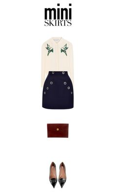 """""""spring look"""" by fanfan-zheng ❤ liked on Polyvore featuring RED Valentino, Hermès, STELLA McCARTNEY, Thierry Mugler and MINISKIRT"""