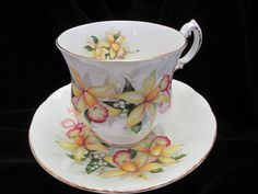 Paragon Wedding Bouquet Orchids Cup and Saucer by Cupsofthepast, $20.00