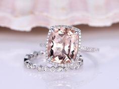 14K White Gold Morganite Promise Ring,Big Morganite Ring,10x12mm Cushion Cut Morganite Engagement Ring,Stackable Diamond Wedding Band by PENNIjewel on Etsy