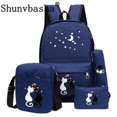 4Pcs/set women backpack schoolbag korean rucksack cut school bags for teenager girls student bag set canvas backpacks #Affiliate