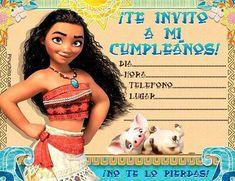 Descarga gratuitamente estas Invitaciones de cumpleaños Princesa Vaiana. Personalizables con día, hora y lugar. Listas para imprimir.