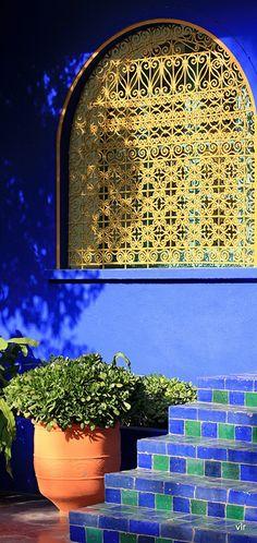 Wrought iron window in YSL's Jardins Majorelle in Marrakesh, Morocco. #Blue #Yellow #YSL.
