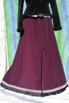 Maroon Button-up Skirt with striped & pleated hem trim SZ 10. $45.00, via Etsy.