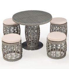 Basson 5 Piece Dining Set with Cushions - Old Bones Furniture Company https://www.oldbonesco.com