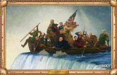 """Trump Crossing the Delaware,"" an illustration by Richard Williams, based on Emmanuel Leutze's ""Washington Crossing the Delaware."" Courtesy of <em>Mad</em> <em>Magazine</em>."