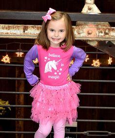 This Pink & Purple Unicorn Tee & Pettiskirt - Toddler & Girls is perfect! #zulilyfinds