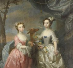 """Circle of Joseph Highmore (1692-1780)  """"Daughters of Crisp Molineaux, Elizabeth, afterwards Lady Barnaby"""", portrait of two girls, three-quarter length, each standing, one in ivory, the other in pink satin dress, holding a floral garland, a doe behind, draped landscape background  The artist studied at Kneller's Academy and was a polished portraitist by the 1720's. After 1730, his work became more Rococo in its style. From 1743 to 1744, he made a series of twelve illustratio"""