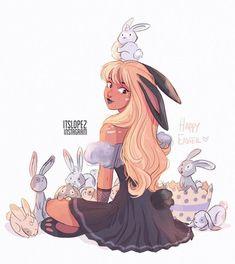 Bunny mom with baby bunnies🐰🐣🌿 - itslopez Cartoon Girl Drawing, Girl Cartoon, Baby Drawing, Pretty Art, Cute Art, Cool Drawings, Drawing Sketches, Evvi Art, Cartoon Kunst