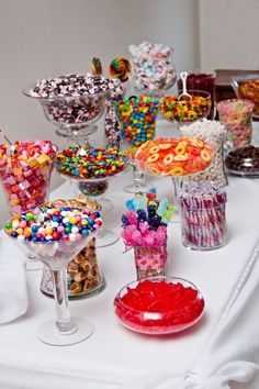 colorful wedding candy bar / http://www.deerpearlflowers.com/creative-wedding-ideas-for-kids/