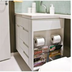 espaço planejado no banheiro Bad Inspiration, Bathroom Inspiration, Bathroom Organization, Bathroom Storage, Bathroom Furniture, Bathroom Interior, Bartop Arcade, Home Renovation, Master Bathroom