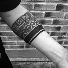 Tribal Armband Tattoo For Guys With Solid Black Lines