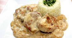 Mennyei Szűzpecsenye tejszínes hagymamártásban recept! A szűzpecsenye tejszínes hagymamártásban egy nagyon finom, pikáns étel, ami ráadásul hamar el is készíthető. Érdemes kipróbálni! :) Hungarian Cuisine, Hungarian Recipes, Meat Recipes, Cooking Recipes, Potato Salad, Delish, Main Dishes, Bacon, Clean Eating