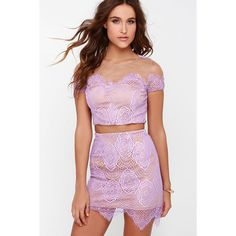 Royal Road Lavender Lace Two-Piece Dress (65 AUD) found on Polyvore featuring women's fashion, dresses, purple, purple lace dress, long bodycon dress, long purple dress, purple cocktail dresses and light purple dress