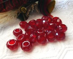 Dione Red Large Hole Multi Faceted Glass Beads by bijoullery
