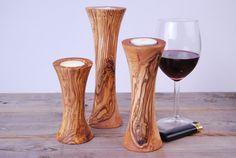 3er SET Olive Wood Tealight Holders from Olivenholz_Shop by DaWanda.com
