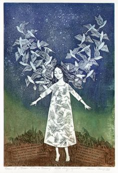 Marina Terauds ~ Dream III (Dream Within a Dream), 2009 (etching, aquatint) Art And Illustration, Angel Art, Whimsical Art, Printmaking, Fairy Tales, Artsy, Fine Art, Drawings, Artwork