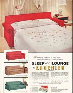 """1956 KROEHLER vintage magazine advertisement """"Sleep-or-Lounge"""" ~ Add an extra bedroom to your home the beautiful way! Select your new Sleep-or-Lounge by Kroehler - Nocturne, Sarasota and Suburban ~ Size: The dimensions of the full-page advertisement are approximately 10.5 inches x 13.5 inches (26.75 cm x 34.25 cm). Condition: This original vintage full-page advertisement is in Excellent Condition unless otherwise noted."""