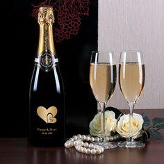 Champagner Set mit persönlicher Gravur zur goldenen Hochzeit