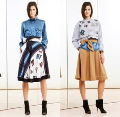 Alexis Mabille 2014 Pre Fall Womens Lookbook Presentation - Pre Autumn Collection Looks - Bow Tie Quilted Denim Jeans Sheer Chiffon Net Mesh Peekaboo Pantsuit Stripes Blazer Wrap Drapery Typography Tuxedo Jacket Riding Coat Nautical Cardigan Sweatpants Wide Leg Bell Bottom Flare Palazzo Pants Poodle Circle Skirt Shirtdress One Shoulder