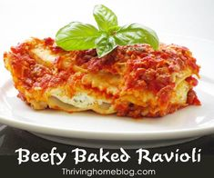 Beefy Baked Ravioli Recipe. This fake-out lasagna is a dinner time favorite in my home. Very easy to make, super filling and is freezer friendly. My kids love this meal!