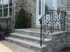 Custom Wrought Iron Railings Outdoor in NYC, Exterior Iron Railings Wrought Iron Porch Railings, Rod Iron Railing, Outdoor Stair Railing, Cable Railing, Porch Railing Designs, Outside Steps, Porch Entry, Log Homes, Facade