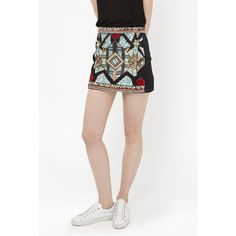 French Connection Medina Jewel Embellished Mini Skirt (€90) ❤ liked on Polyvore featuring skirts, mini skirts, blasck multi, knee length a line skirt, short mini skirts, tribal mini skirt, short white skirt and sequined skirts