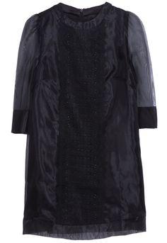 Vestido recto bordado encaje mangas largas-Negro EUR25.82