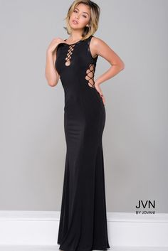 Black Fitted Jersey Prom Dress