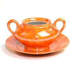 Orange Lusterware Bowl & Plate Set Repurpose As by OneRustyNail, $7.95