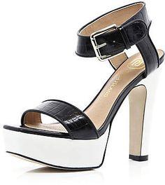 #River Island             #women boots              #Black #croc #contrast #platform #sandals #heels #shoes #boots #women         Black croc contrast platform sandals - heels - shoes / boots - women                                    http://www.seapai.com/product.aspx?PID=229824