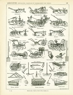 Country Farm decor- Farming Equipment Art Print - Agricultural Illustration - Antique Farming Equipment - Agricultural Science - Harvest Print. Antique French print from the Nouveau Larousse Illustrated published in Paris between 1897 to 1907. This is the original print, not a copy.