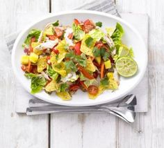 Spicy chicken, mango & jalapeño salad..if u don't like jalapeno then use green or red raw pepper. or raw thin slice of zucchini.