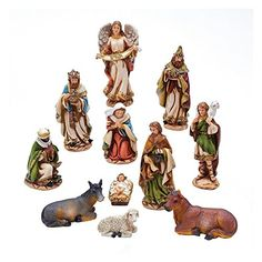 Kurt Adler Resin Nativity Figures Set Nativity scene of 11 figurines, painted beautifully with bold colors and glittering gold accents. One Nativity Set Made of Resin Dimensions: 4 in. Christmas Nativity Set, Christmas Store, Nativity Sets, Christmas Ideas, Christmas Printables, Christmas Crafts, Christmas Ornaments, Painted Rocks, Hand Painted